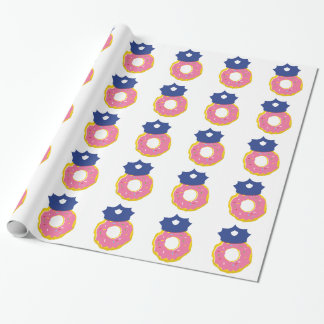 doughnut police officers hat wrapping paper