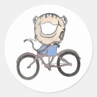 Doughnut Riding a Bicycle Round Sticker