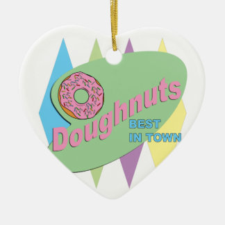 doughnut shop ceramic heart ornament