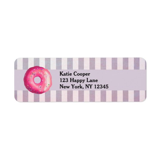 Doughnut With Pink Frosting And Sprinkles Return Address Label