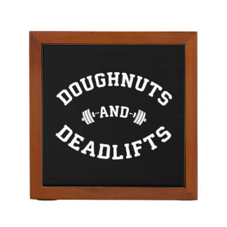 Doughnuts and Deadlifts - Funny Gym Workout Desk Organizer