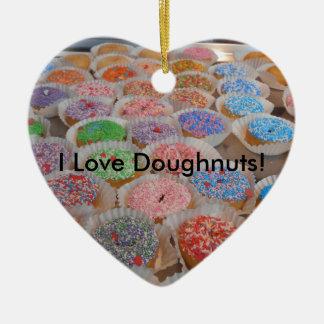 Doughnuts! Ceramic Heart Ornament