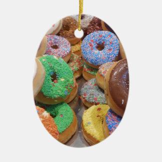 Doughnuts Ceramic Oval Ornament
