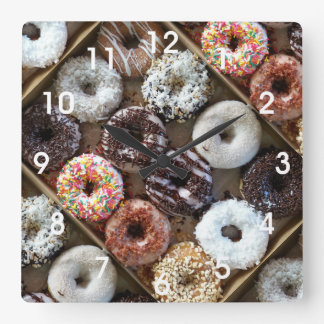 Doughnuts Donuts Photo Square Wall Clock