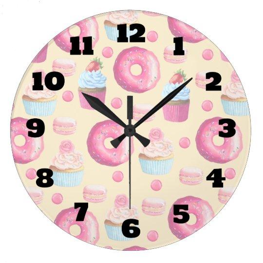 Doughnuts Macarons And Cupcake Pattern In Clock