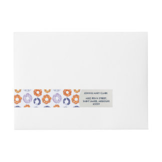 Doughnuts pop art cool blue orange pattern wraparound address label