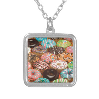 doughnuts silver plated necklace