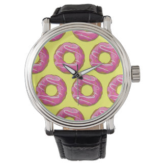 Doughnuts with pink icing wrist watch