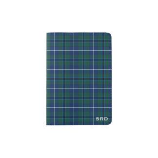 Douglas Clan Dark Blue and Green Tartan Monogram Passport Holder