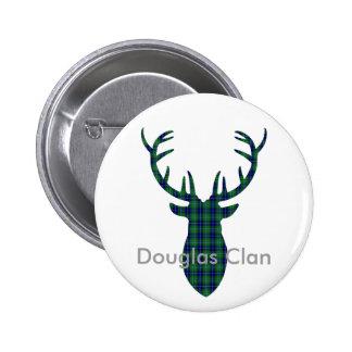 "Douglas Clan Family Tartan ""Antlers"" 2 Inch Round Button"
