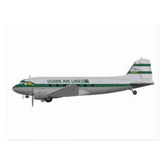 Douglas DC-3 Ozark Airlines Postcard