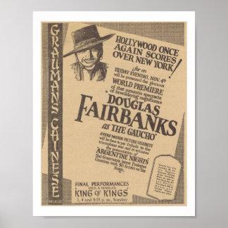 Douglas Fairbanks The Gaucho 1927 world premiere Poster