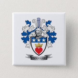 Douglas Family Crest Coat of Arms 2 Inch Square Button