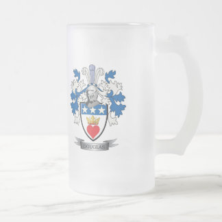 Douglas Family Crest Coat of Arms Frosted Glass Beer Mug