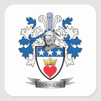 Douglas Family Crest Coat of Arms Square Sticker