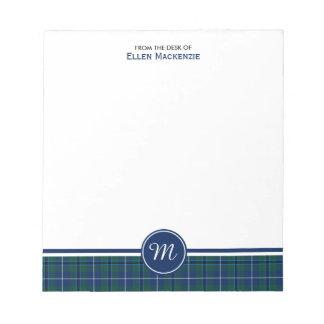 Douglas Family Navy Blue Modern Tartan Monogram Notepad