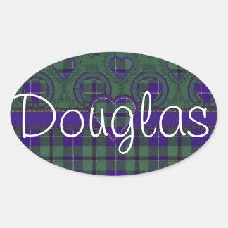 Douglas Scottish Tartan Oval Sticker