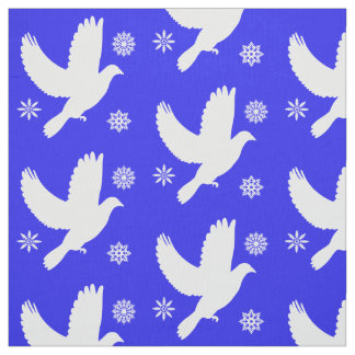 Dove among the Snowflakes at the Holidays Fabric