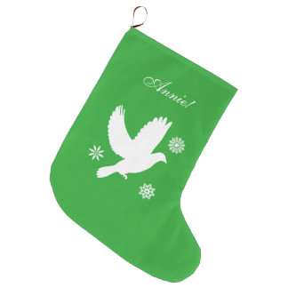 Dove among the Snowflakes at the Holidays Large Christmas Stocking