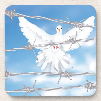 Dove and Barbed Wire Drink Coaster