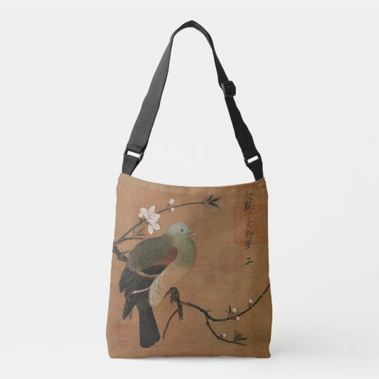 Dove and cherry blossoms Oriental art Crossbody Bag