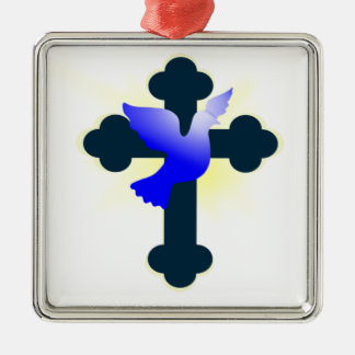 Dove and Cross Metal Ornament