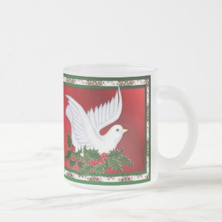 Dove and Holly 10 Oz Frosted Glass Coffee Mug