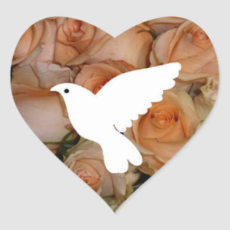 Dove And Roses Heart Sticker