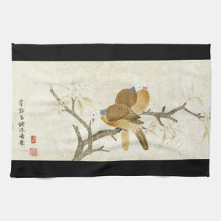 Dove Birds Flowers Asian Wildlife Kitchen Towel