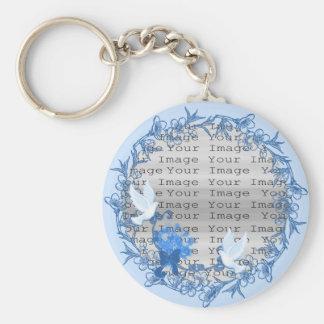 Dove Custom Round Wedding Key Chain