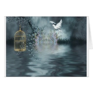 Dove Flying Over Water to it's Gilded Cage Card