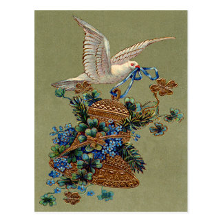 Dove Forget Me Not Four Leaf Clover Bell Evergreen Postcard