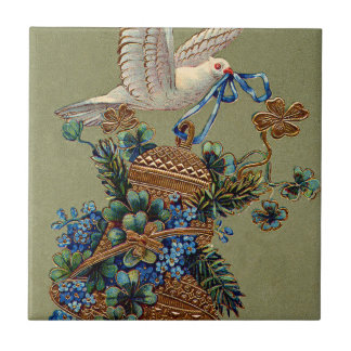 Dove Forget Me Not Four Leaf Clover Bell Evergreen Tile