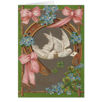 Dove Forget-Me-Nots Horseshoe Four Leaf Clover Card