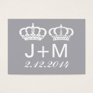 Dove Gray Royal Couple Wedding Place Card
