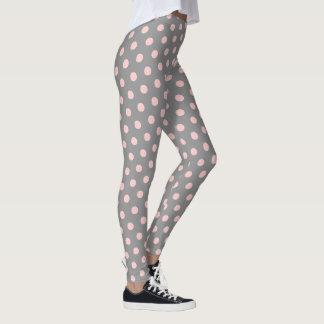 Dove Grey and Baby Pink Polka Dots Leggings