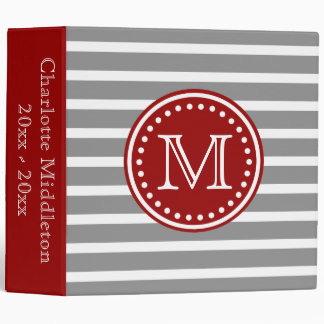 Dove Grey and Nautical Red Striped Monogram Binders