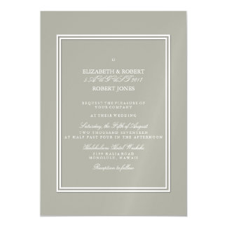Dove Grey and White Borders and Text Magnetic Invitations