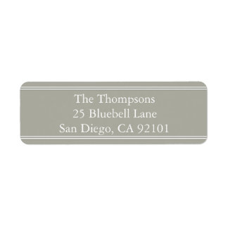 Dove Grey and White Borders and Text Return Address Label