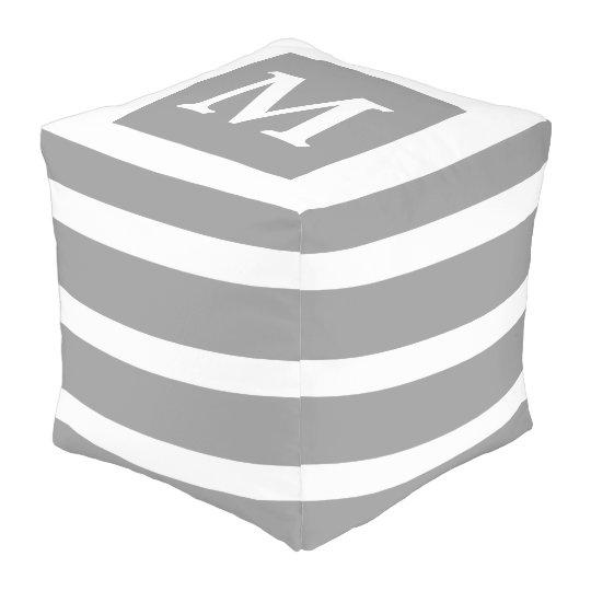 Dove Grey and White Stripe Monogram Pouf
