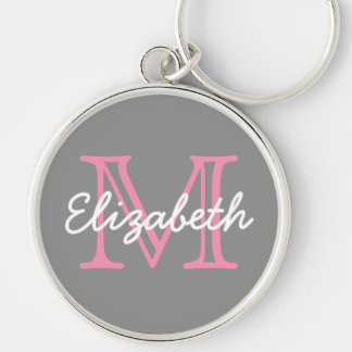 Dove Grey Happy Pink and White Monogram Silver-Colored Round Keychain