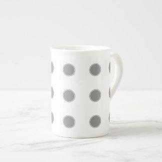 Dove Grey Polka Dots on White Tea Cup