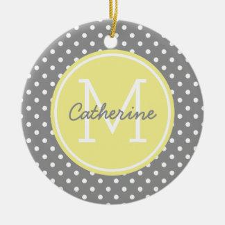 Dove Grey Yellow and White Polka Dot Monogram Round Ceramic Ornament