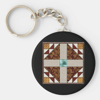Dove in a Window Rust & Gold Basic Round Button Keychain