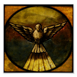 dove in stained glass poster