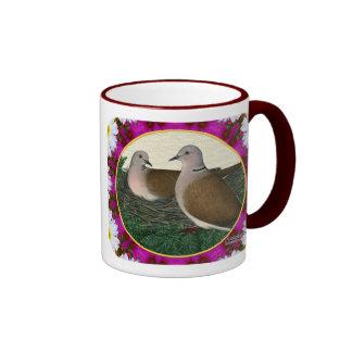 Dove Nest and Flowers Ringer Mug