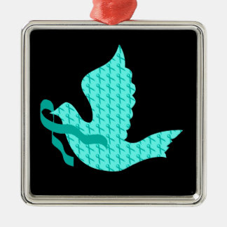 Dove of Hope Teal Ribbon - Ovarian Cancer Metal Ornament