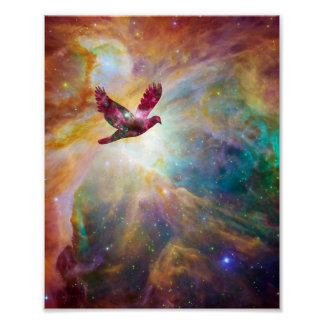 Dove of Peace Flying Through the Universe Print