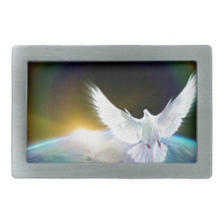 Dove of Peace Holy Spirit over Earth with Rainbow Belt Buckle