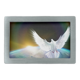 Dove of Peace Holy Spirit over Earth with Rainbow. Belt Buckle